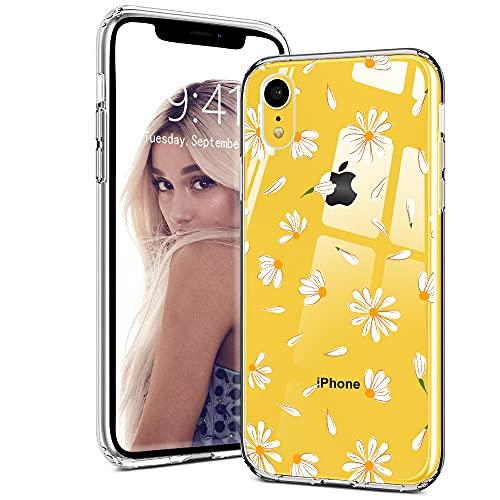 Idocolors Custodia iPhone XR Cover Protettiva Custodia in Silicone TPU per Apple iPhone XR Backcover Cellulare Trasparente Margherita