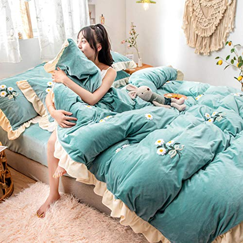 Deep Pocket Sheets - 4 Piece Sheet Set,Winter warm sheets double-sided plus velvet thick flannel extra large duvet cover-G_2.0m bed (4 pieces)
