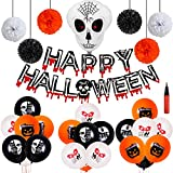 32pcs Halloween Party Dekoration Set Skelett Geist Halloween Luftballons Halloween Folienballons Happy Halloween Luftballons Banner Papierblumenkugel, Grusel Dekoration