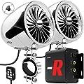 "GoHawk TJ4-R Amplifier 4"" Full Range Waterproof Bluetooth Motorcycle Stereo Speakers 1 to 1.5 in. Handlebar Mount Audio Amp System Harley Touring Cruiser ATV UTV RZR, AUX, FM Radio from GoHawk"