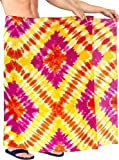 LA LEELA Traje de baño Traje de baño los Hombres Sarong Hawaiano Pareo de Trajes de baño Ropa de Playa Envoltura de Color Rosa