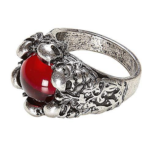 Widmann 46753 Totenkopfring, Unisex– Erwachsene, Silber/Rot, One Size