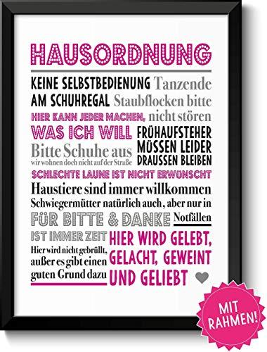 Lustige Hausordnung in Pink Bild im schwarzem Holz-Rahmen Geschenk Geschenkidee Einzug Einweihung