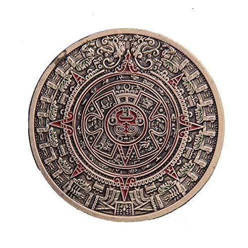 homker Moneda Conmemorativa de la Aleación de Hierro de Laca Maya Azteca de México,Cobre,4cm