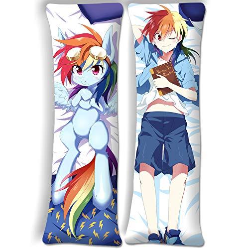 SUPERCB Body Pillow Anime Cover MLP My Little Pony Rainbow Dash Anime Pillow Cover Body 63inx19.6in(160cm x 50cm) Peach Skin