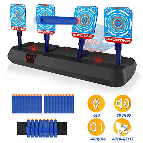 Growsland Electronic Shooting Target for Nerf Guns - Auto Reset Digital Scoring Target Kid Toys for Boys Girls Light Sound Effect Xmas Gift with 20 Pcs Nerf Darts & 1 Hand Wrist Bands
