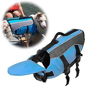 SILD 犬 ライフジャケット 大型犬 高浮力 反射ライン 救命胴衣 ペットジャケット 犬用ライ フベストジャケット 水泳の練習用品 犬 救急服 ペットライフジャケット 安全な泳ぎを補助 犬の安全を守る 水泳救命胴衣 干しやすい(L, ブルー)