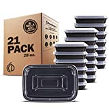 Freshware Meal Prep Containers [21 Pack] 1 Compartment Food Storage Containers with Lids, Bento Box, BPA Free, Stackable, Microwave/Dishwasher/Freezer Safe (28 oz)