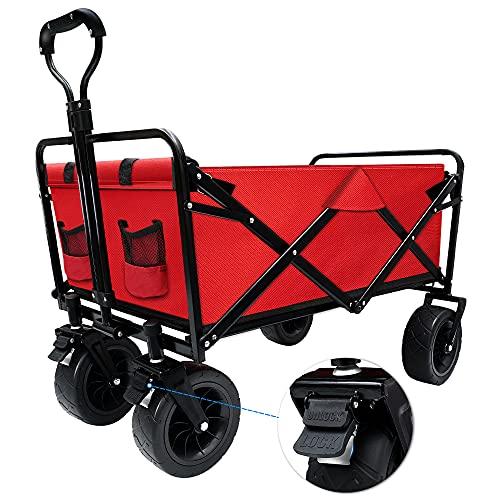 Kotesoto キャリーワゴン キャリーカート お折りたたみ 大型タイヤ ワンタッチ キャンプワゴン 120L大容量 耐荷重100kg 軽量 収納バック付き 前輪ストッパー付き (56*20*75cm, レッド)
