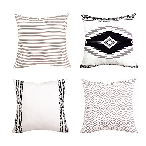 Alishomtll 4er Set Kissenbezug Outdoor-Shell-Kissenhülle Dekorative Zierkissenbezug für Sofa Couch Zimmer Geometrisch Polyester weich 45x45 cm
