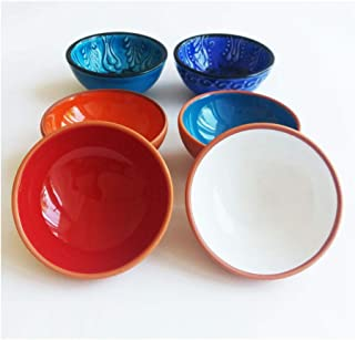 Ayennur Decorative Terracotta Pinch Bowls Set of 4 with 2 Handcrafted Turkish Small Finger Serving Bowls(Multi 3)