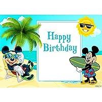 夏のパーティーの背景漫画ミッキーマウスパーティーの背景夏のビーチの子供の誕生日パーティーの写真の背景写真スタジオの小道具ビニールカスタマイズ可能