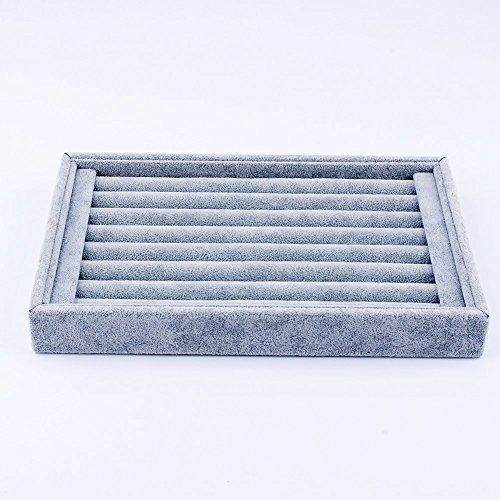 Yosoo Schmuckständer aus Samt, Präsentationsplatte für Ausstellungen, Ablage, Organizer für Ringe, Ohrringe, 23 x 15 cm, Grau