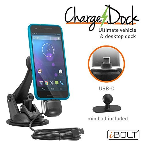 iBOLT ChargeDock USB-C Ultimate Magnetic Vehicle and Desktop Dock/Mount/Holder w/ 2m USB Certified Type C to USB-A Charging Cable. Works with All USB-C Phones (Samsung Note 9/8, S8 / S9 etc.)