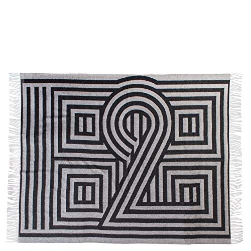 ZOEPPRITZ 1828 Decke – Wolldecke aus Schurwoll-Mischung – mit Fransen – grafisches Design, hochwertige Webung – waschbar (980 Black, 135 x 190 cm)