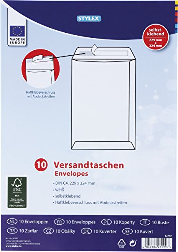 Preisvergleich Produktbild STYLEX 41199 Versandtaschen,  C4,  haftklebend,  100 g,  10 Stück,  weiß