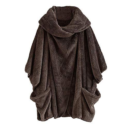 Damen Mantel, Herbst Frauen Mode Lässige Simplicity Solid Rollkragen große Taschen Outwear Mäntel Vintage Trendigen Plus Größe Gefaltete Künstliche Pelz Pullover weich Plüsch Warme Sweatshirt SHOBDW
