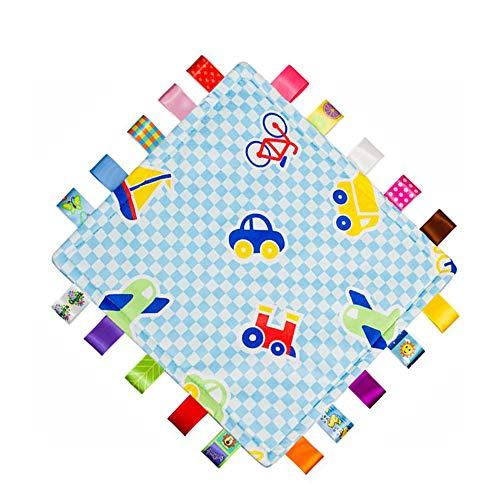 G-Tree bébé Couverture sensorielle, Sécurité et Teething fermé Ruban Tag Lovey Couverture, Tag Couverture pour bébé enfants en bas âge (Bleu)