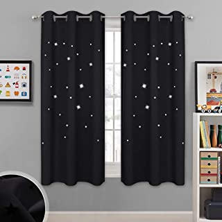 NICETOWN Magic Starry Window Drapes - Laser Cutting Stars Nap Time Blackout Window Curtains for Children's Room, Nursery, Themed Home, Space-Lovers Decor (W42 x L63 inches, 2 Pack, Black)