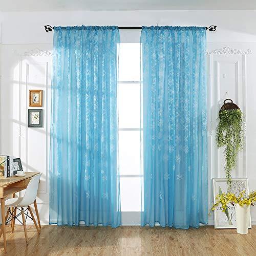 SO-buts Cortina de tul transparente con diseño de copo de nieve, para ventana, cenefa de invierno, Navidad, hogar, dormitorio, sala de estar (azul cielo, 100 cm x 200 cm)