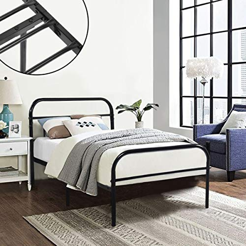 GreenForest Twin Bed Frame Metal Platform Mattress Base Platform Bed with Vintage Headboard Box Spring Replacement, Twin