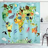 ABAKUHAUS Pasión de Viajar Cortina de Baño, Mapa del Mundo Animal, Material Resistente al Agua Durable Estampa Digital, 175 x 200 cm, Pálido Azul Verde Amarillo
