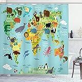 ABAKUHAUS Pasión de Viajar Cortina de Baño, Mapa del Mundo Animal, Material...