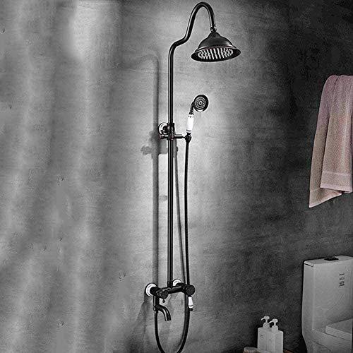 RGERG Tallado Antiguo Grifo para Bañera, Conjunto De Ducha Redondo Ducha De Lluvia Montado En La Pared con Ducha De Mano Barra Adjustable,Columna De Ducha Cerámica Negro Bronce