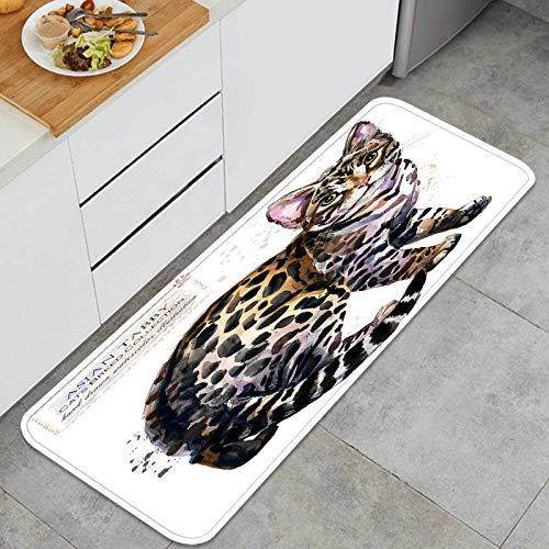Blived Alfombra de Cocina Antideslizante,Gato atigrado asiático Acuarela casa Mascota,Estera de Cocina Felpudos Decorativo Alfombra para Dormitorio Baño Pasillo 45 x 120cm