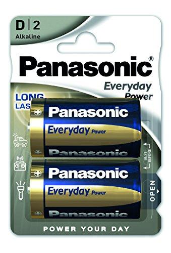 Panasonic D 1.5 V Pile Alkaline, 2 Pezzi