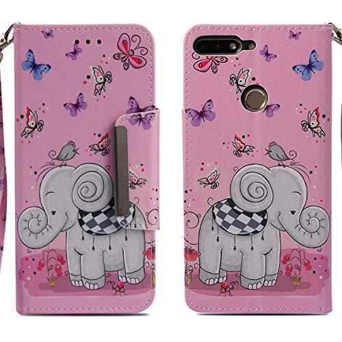 Xifanzi Huawei Y7 2018 Schutzhülle Wallet Tasche Brieftasche Flip Handyhülle Ledertasche Handytasche Cover Schmetterlings-Elefant Book Style Magnetverschluss Handschlaufe für Honor 7C
