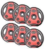 Bad Company K-Grip Hantelscheiben mit Griffen I Kunststoff ummantelte Gewichte 30/31 mm I 6 x 5,0 Kg