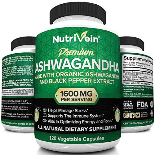 Nutrivein Organic Ashwagandha Capsules 1600mg with...
