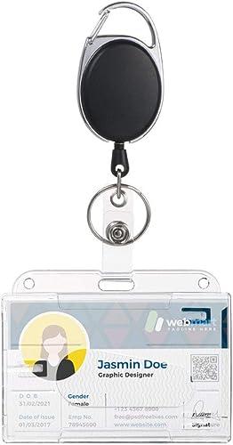 Vicloon Upgrade Porte-badge avec Yoyo et Cordon Résistant - Protection de Vos Badges Carte de Visite,Carte d'étudiant...