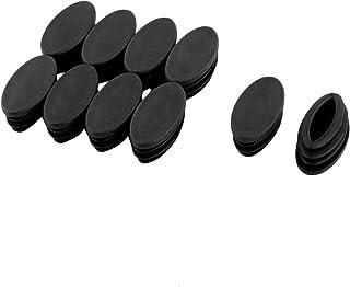 sourcing map Silla De Mesa Pierna De Plástico Tubo Ovalado Tubo Insertar Tapa Negro 20 X 39 mm 10 Piezas