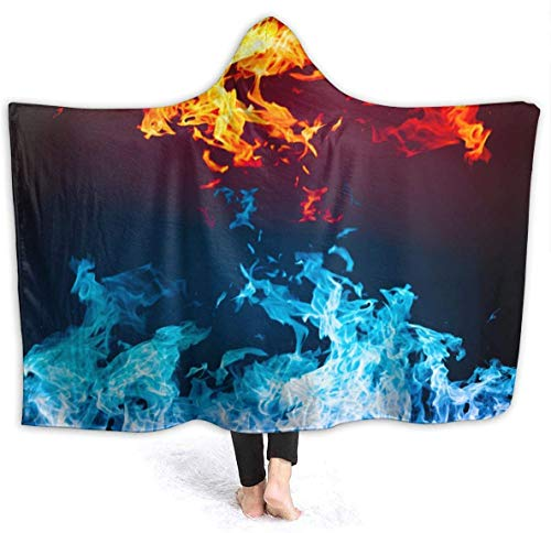 suizhoufa Coperta in Pile Fire And Ice Abstract Hooded Blanket Luxury Velvet Wrap Blanket Super Soft Cozy Warm Nap Blanket Throw Poncho for Living Room Bedroom Dorm Sofa Microfiber