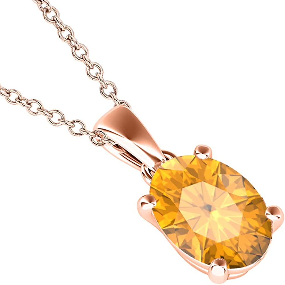 dazzlingjewelrycollection 5x7mm to 10x12mm Oval Cut Created Citrine 14k Gold Over .925 Sterling Silver Single Prongss Cross Pendant Valentines Days for Womens