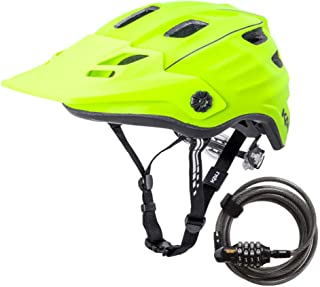 Kali Protectives Bike Helmet Maya 2.0 Revolt (Matte Fluorescent Yellow/Black, Small/Medium) and Combo Lock Bundle. Ventilated, Lightweight, CPSC Certified, High Visibility for Safety. (2 Items)