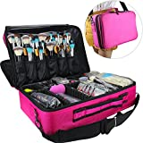 LARGE CAPACITY MAKEUP CASE: This makeup case is the perfect size for carry all your makeup cosmetics accessories. Just right for professional makeup artist or makeup amateur. EASY TO CARRY: This makeup case comes with a shoulder strap, use it as a sh...
