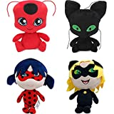4PCS Miraculous Tales Of Ladybug And Cat Noir Toys, Tikki Plagg Plushies Stuffed Animal Doll For Kids,11'' (#A)