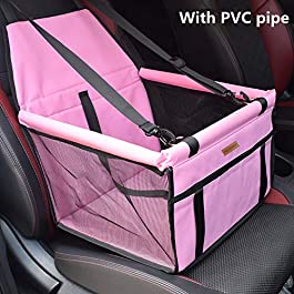 SWIHELP Dog Car Seat Upgrade Portable Pet Dog Booster Car Seat with Clip-On Safety Leash and PVC Support Tube,Perfect for Small Pets(Light Pink)