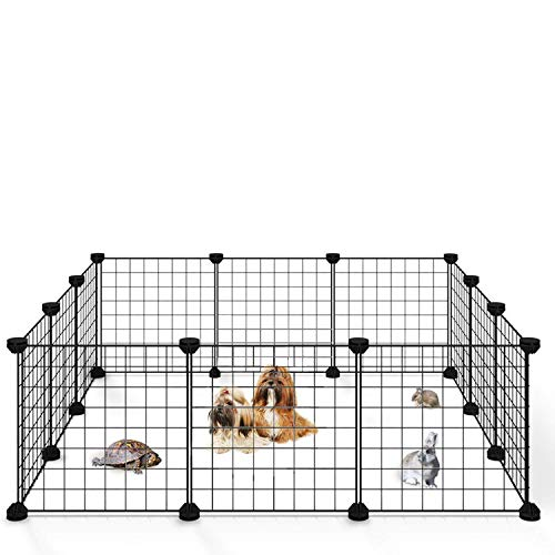 Allisandro Small Pet Playpen Cage for Indoor Outdoor Use, Portable Metal Wire Yard Fence for Small Animal, Bunny, Turtle, Hamster, 12 Panels, 11.8 x 11.8 Inches