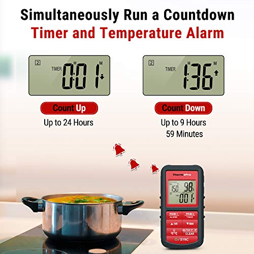 Product Image 1: ThermoPro 500FT Wireless Meat Thermometer for Grilling Smoker BBQ Food Thermometer with Dual Probe Digital Oven Kitchen Cooking Thermometer