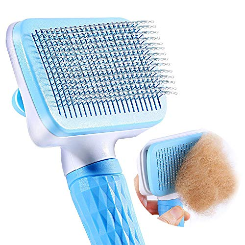 FymuSing Self Cleaning Slicker Brush for Cat and Dog, Pet Grooming Tool for Long and Soft Hair (Blue)