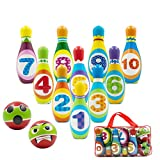 Kid Toys Bowling Game Set - Boys Girls Activity Center Sports Toy Learning, Educational, Early Developmental Toy, 10 Pins and 2 Bowling Balls for 2, 3, 4, 5 Year Olds Children Toddler