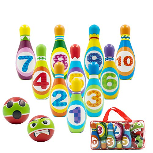 Kids Bowling Set Includes 10 Classical FoamPins and 2 Balls, Suitable as Toy Gifts, Early Education, Indoor & Outdoor Games, Great for Toddler Preschoolers and School-Age Child, Boys & Girls