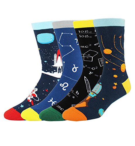 Novelty Fun Crazy Space Crew Socks Funny Cool Gifts for Men, Math Astronaut Rocket Solar School Cotton Socks