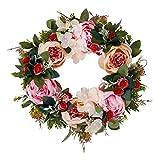 Türkranz Pfingstrosen Kranz Kränze für die Haustür Seidenblumen Vier Jahreszeiten künstliche Blumen für Heimdekoration Hochzeitsfeier Weihnachten...