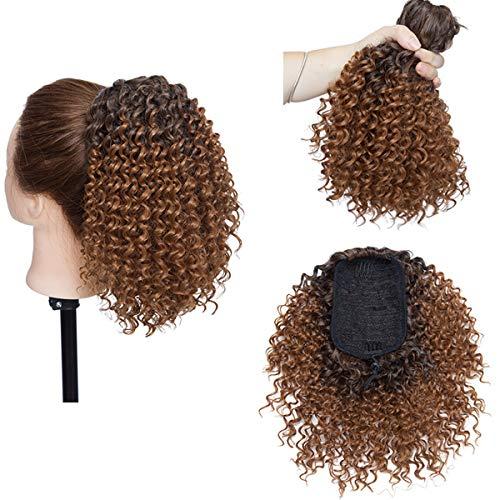 Afro Kinky Curly Clip en extensiones de cabello de cola de caballo para mujeres negras - Clip en el cierre superior Pieza de cabello de cola de caballo Castaño claro mezcla negro