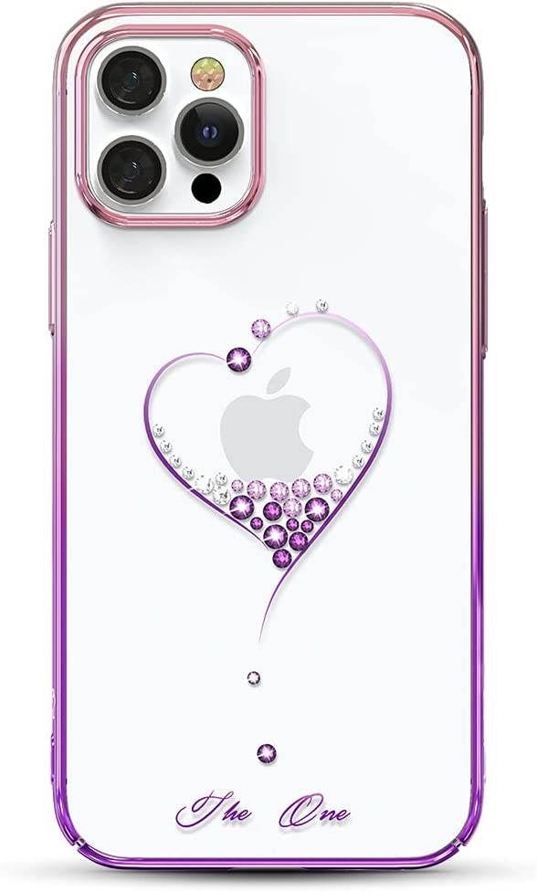 KINGXBAR Luxury Heart Series Case Clear Gold Plated Protective Cover with Crystals from Austria Compatible with Apple iPhone 12 Pro Max, 6.7 inch,Transparent Thin Hard Phone Covers Glitter Purple